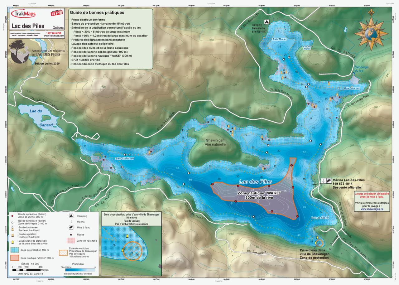 Carte bathymétrique du lac des Piles